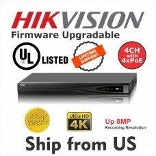 4CH NVR 4xPOE 8MP 4K  Hikvision OEM UL LISTED MS-8804NI-K1/4P NO HDD