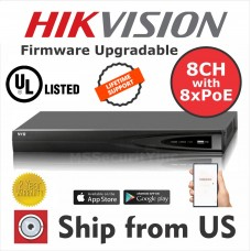 8CH NVR 8 PoE up to 6MP 2 SATA HIKVISION OEM MS-8808NI-E2/8P UL LISTED