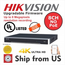 8CH NVR HIKVISION OEM 4K H.265 up to 8MP 2 SATA MS-8808NI-K2 UL LISTED