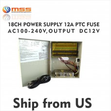 18 CH Power Supply 12A PTC Fuse AC 100-240V, Output 12V