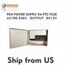 9 CH Power Supply 12A PTC Fuse AC 100-240V, Output 12V