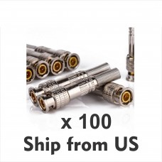 100Pcs BNC Connector Solder Less Twist Spring Jack for Coaxial RG59 CCTV