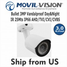 3MP Bullet HD Camera 4-in-1 Day&Nigth IR 25Mts IP66 AHD/TVI/CVI/CVBS