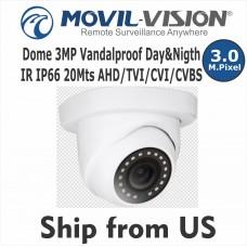 3MP Dome Camera 4-in-1 Day&Nigth IR 20Mts IP66 AHD/TVI/CVI/CVBS CMD5328 NEW