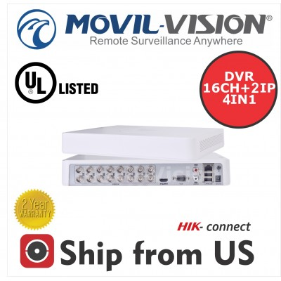 16CH DVR 1080p,ANALOG,IP,HDTVI,AHD Powered By Hikvision UL Listed