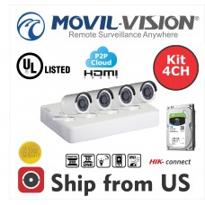 Kit 4CH DVR 4IN1,4 Camera 2MP Bullet 2.8mm Up to 20m IR,1TB HDD