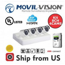 Kit 8CH DVR 4IN1,4 Camera 2MP Bullet 2.8mm 20m IR1TB HDD Hikvision OEM UL LISTED